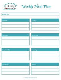 Weekly Meal Plan Sheet Free Printables For Meal Planning Hillbilly Housewife