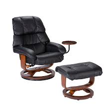 southern enterprises modern leather recliner and ottoman by oj