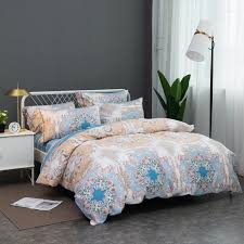 gold white blue and khaki brown tribal and scroll print bohemian baroque style vintage shabby chic full queen size bedding sets