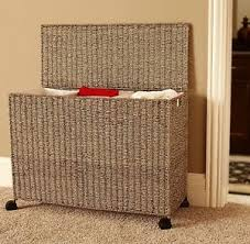 woven basket with lid. Image Is Loading Triple-Laundry-Sorter-3-Bag-Clothes-Hamper-Organizer- Woven Basket With Lid H