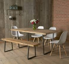 charming home made dining tables and white dining chairs with wooden wall decor