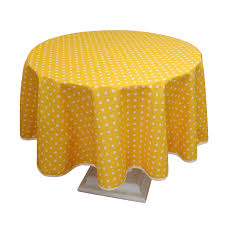 poly cotton tablecloth with yellow polka dot design round 160cm 63
