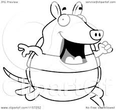 Small Picture Cartoon Clipart Of A Black And White Happy Armadillo Running