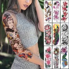 большой рукав татуировки японский гейша змея водонепроницаемый временные