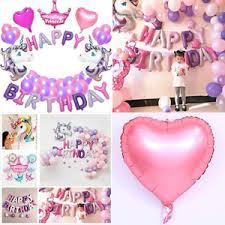 Purple Happy Birthday Banner Unicorn Party Decoration Purple Balloons Happy Birthday Banner