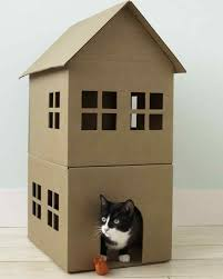 Cat Playhouse Designs Cardboard Cat Playhouse Diy Craft Crafts Diy Crafts Do It
