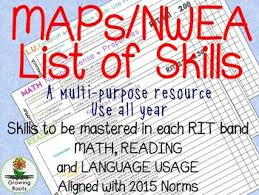 Nwea Rit Chart Nwea Map Skills For Math Reading And Language Rit Scores
