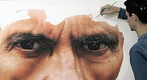 father hyper realistic oil painting on canvas fabiano millani ed