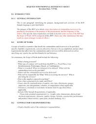 sample scope of work sample rfp reference sheet and scope of work template