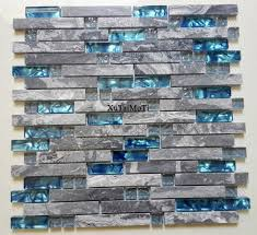 11pcs gray marble mosaic blue glass tile kitchen backsplash bathroom background decorative wall fireplace bar stone