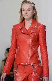 red leather womens jacket