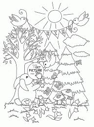 Rabbits In The Spring Forest Coloring Page Free Printable For