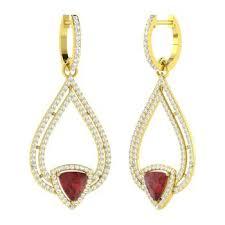 triangle cut garnet and diamond chandelier earring in 18k yellow gold