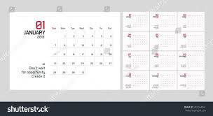 Modern Minimal Calendar Planner Template 2018 Stock Vector Royalty