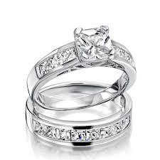 Sterling Silver 2ct Cz Princess Cut Engagement Wedding Ring Set