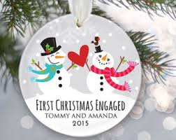 First Christmas Engaged Personalized Christmas Ornament Engagement  Christmas Ornament Snowman couple Names & Date Snowmen Ornament