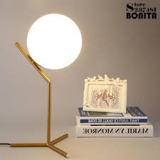 2019 nordic modern minimalist table lamps for living room white glass ball table light iron tripod milky round ball desk lamp reading from zhongfulamp