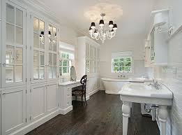 bathrooms are required to have a minimum ceiling height of 80 over a fixture and a clearance area at the front for fixtures a shower or tub