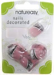 Diva Nice Natureasy Nails Decorated Nalepovací Nehty Růžové S černo Stříbrnou Aplikací 24 Kusů