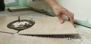 a tile cutter is used to make the straight cuts against the walls after the tiles are scored with the cutter they are snapped in two along the line