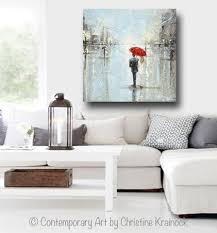 giclee print art abstract painting couple red umbrella girl grey blue city rain canvas print on wall art canvas picture print with canvas prints art abstract painting couple red umbrella girl wall