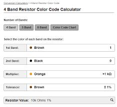 5 Band Resistor Color Code Chart Pdf Resistor Color Code Calculator Eda Design Tools