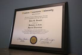 personalized full color imprint on aluminum plate mounted to a  custom personalized western governors university black mdf graduation plaque