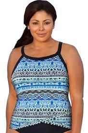 Penbrooke Swimwear Size Chart Penbrooke Stenciled Plus Size Cross Over Underwire Tankini Top