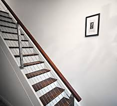 replace stair railing. Modern Railing On Closed Box Stairs Replace Stair
