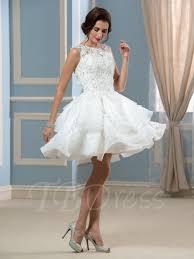appliques lace organza knee length a line short wedding dress