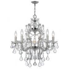 maria theresa 6 light crystal chandelier finish polished chrome crystal grade swarovski elements