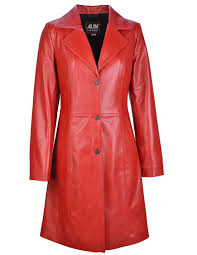 tully mid length fitted red leather coat