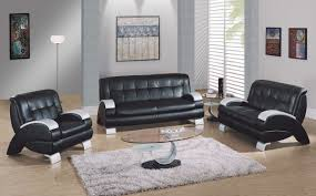 Leather Furniture Living Room Conventional Living Room Black Leather Sofa Set Black Puffy