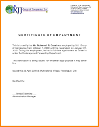 Letter Of Verification Of Employment Certificate Employment Cashier New Template Letter Proof From