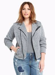 new torrid womens plus size 5x 32w gray heavy marled knit moto motorcycle jacket