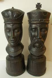 King And Queen Decor King And Queen Chess Pieces Large Ceramic Modern Mid Century