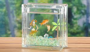 painted glass block fish bowl