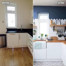 kitchen makeover white units herringbone metro tiles blue