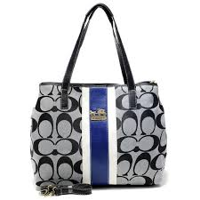 Coach Hamptons Weekend Signature Stripe Medium Grey Totes AEX