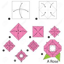How To Make A Flower Out Of Paper Step By Step Step By Step Instructions How To Make Origami A Rose Royalty Free