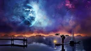 lake at night. stranger crossing the lake at night wallpaper