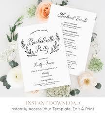 Party Agenda Templates Bachelorette Party Invitation Template Printable Bachelorette