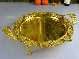 Decorative Metal Serving Trays 60cm round gold red embossed metal serving tray storage tray with 20