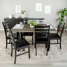 grey wood dining chairs. Walker Edison Furniture Company Madison 7-Piece Aged Grey Wood Dining Set Chairs G