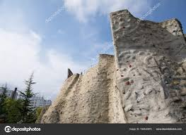 outdoor artificial climbing wall stock photo