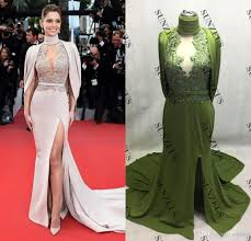 Red Carpet Designer Evening Gowns High Neck Mermaid Red Carpet Celebrity Evening Dresses Open Back Sexy Party Dresses For Women High Leg Slit Evening Gowns Appliques Caftan Evening