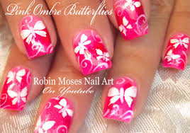 Cute Neon Pink Butterfly Nails | White Butterfles Nail Art Design ...
