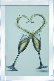 champagne glasses heart splash liquid glass wall art picture with mirror frame