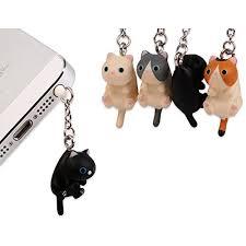 4 Pieces <b>3.5mm</b> Dustproof Plug Lovely Hanging Cat <b>Universal</b> ...