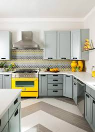 Tiles Backsplash Blue Gray White And Yellow Kitchen Herringbone